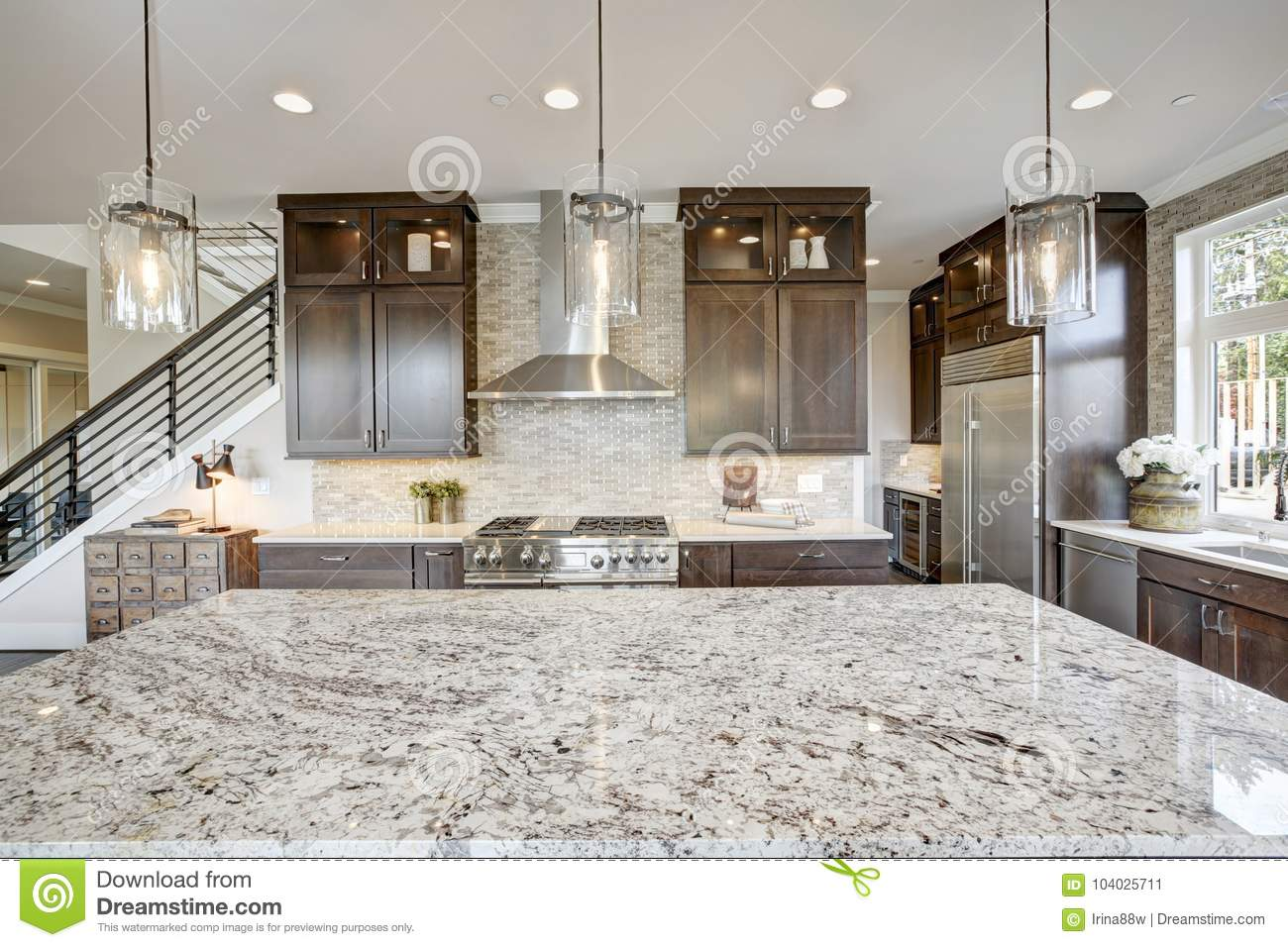 Large Modern Kitchen Island Luxury Kitchen In A New Construction Home Stock Image Image Of