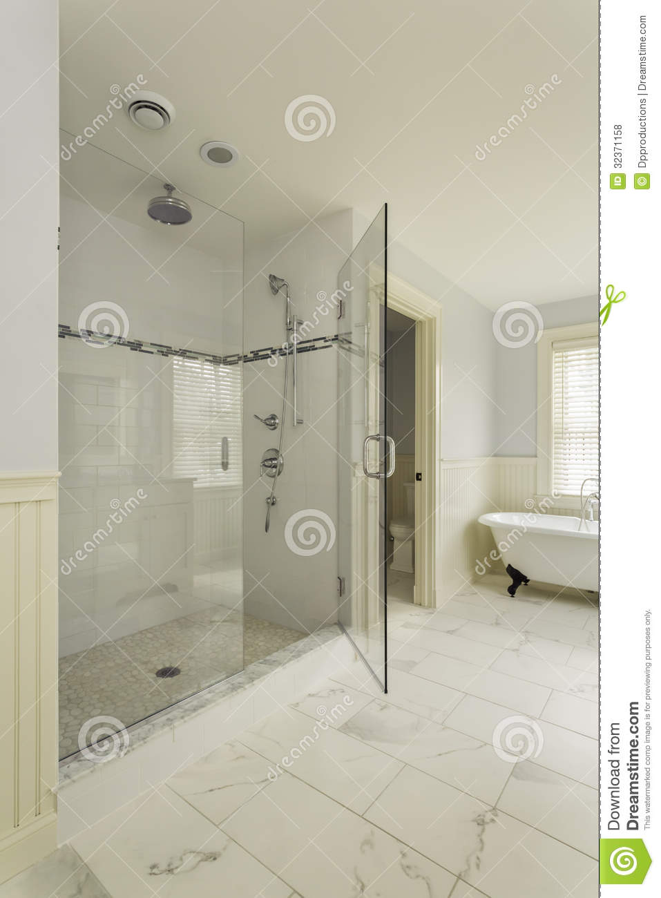 Luxury Master Bathroom With Enclosed Glass Shower Stock Photo 32371158 Megapixl