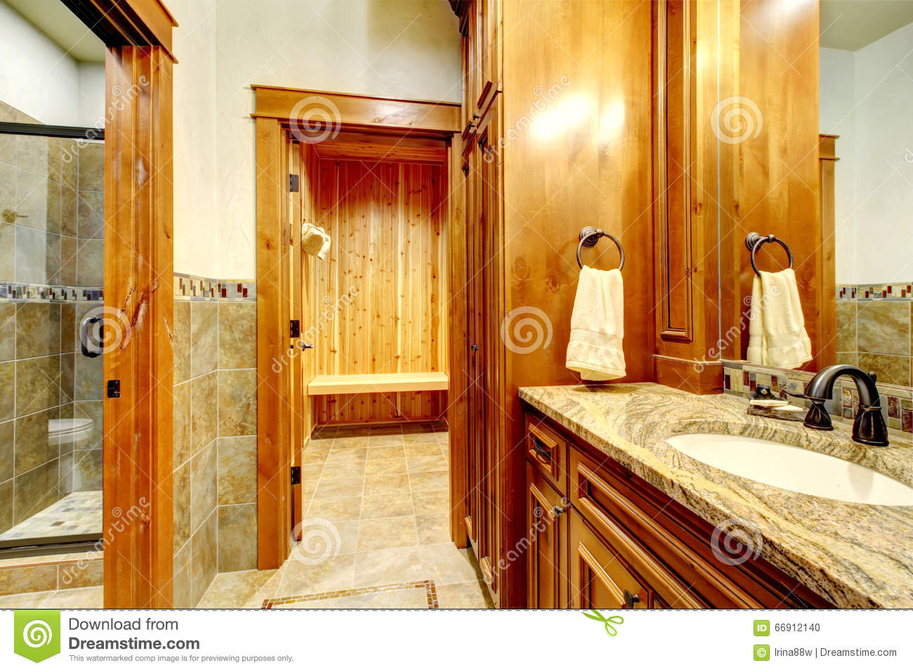 Luxury Master Bathroom With A Sauna Stock Photo Image Of Design Apartment 66912140