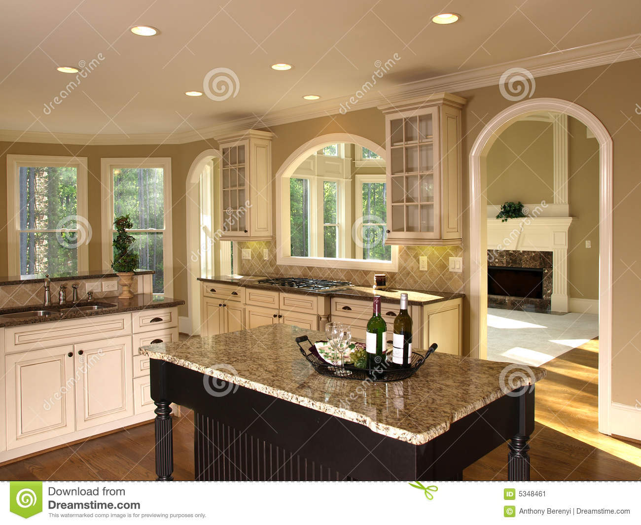 Meuble Tv Bois Design Luxury Model Home Kitchen Island Stock Image - Image: 5348461
