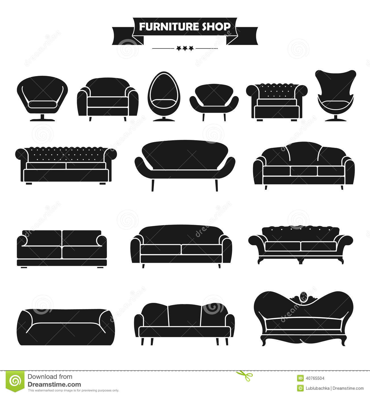 Sofa Vector Free Luxury Modern Sofa And Couch Icons Set Vintage Fu Stock Vector