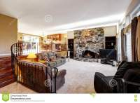 Luxury Open Living Room Interior With Stone Fireplace ...