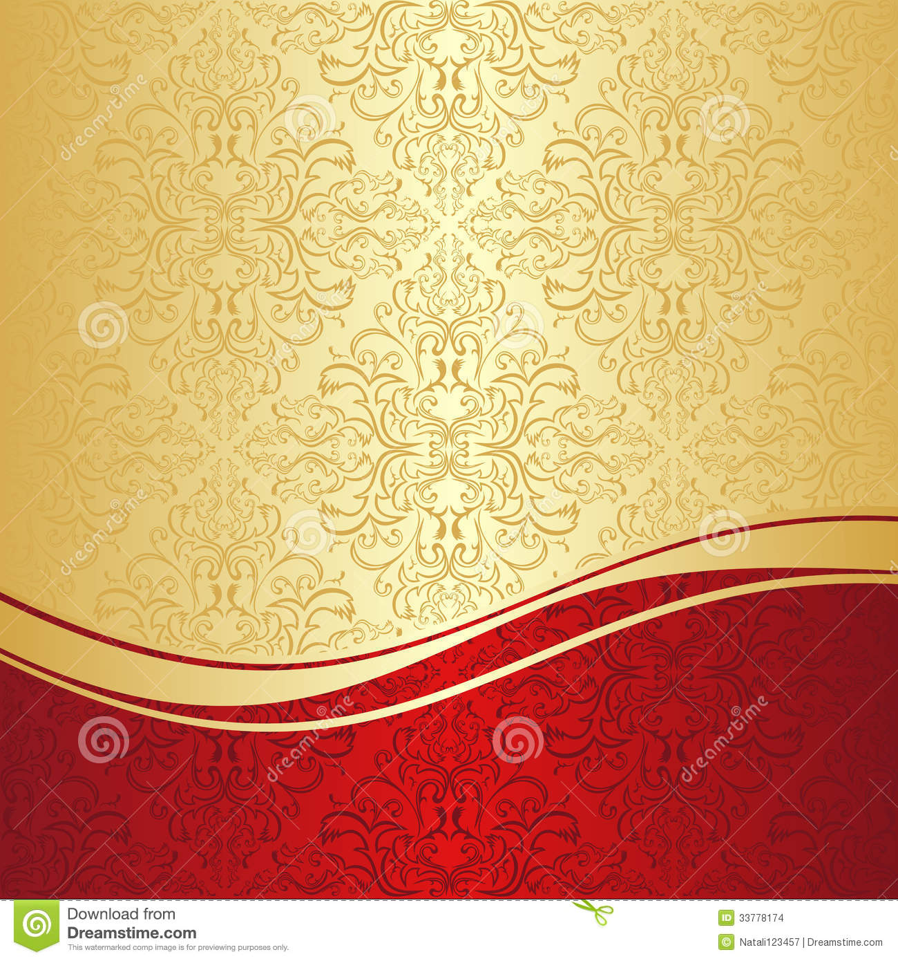 Purple And Black Damask Wallpaper Luxury Ornamental Background Gold And Red Stock Vector
