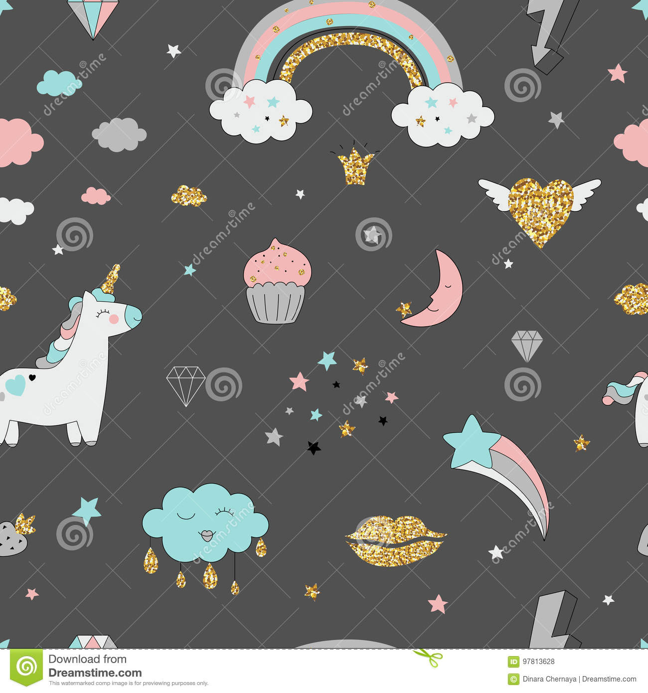 Glitter Animal Print Wallpaper Vector Pattern With Unicorn Clouds And Rainbow Royalty