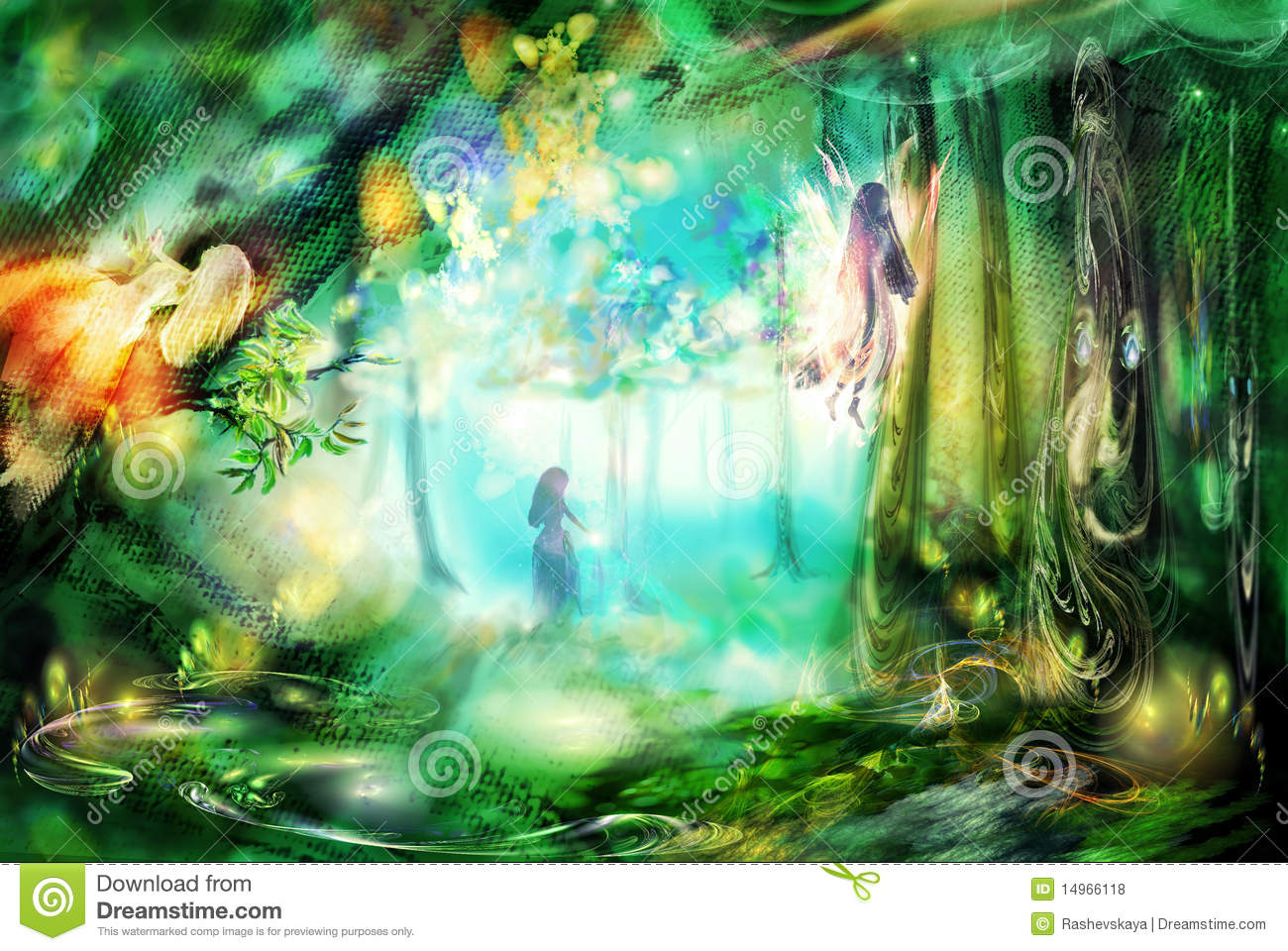 3d Mushroom Garden Wallpaper Download The Magic Forest With Fairies Stock Illustration Image