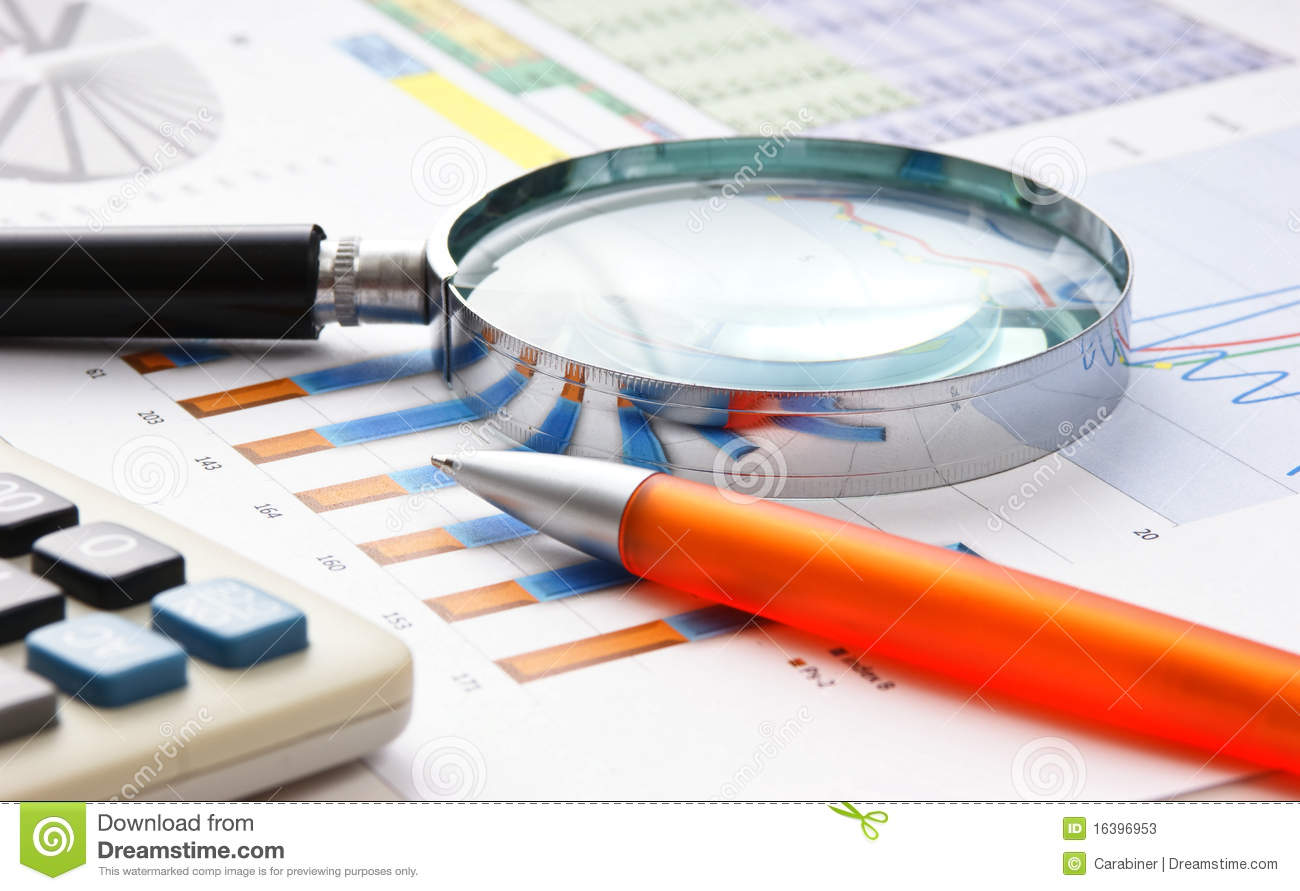 Magnifying Glass And The Working Paper Stock Image Image
