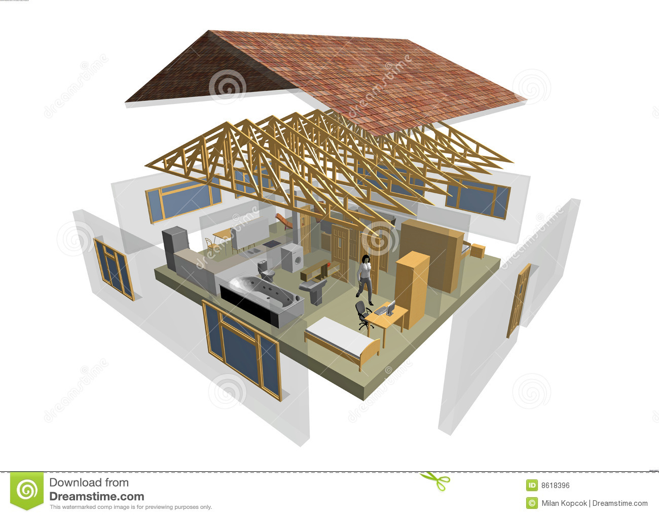 Plan 2d Maison Maison 3d Illustration Stock Image Du Document Dessin
