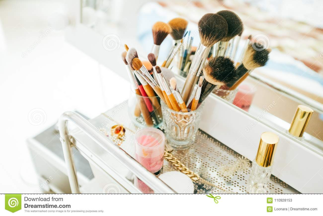 Cosmetic Table Make Up Brushes And Cosmetic On Dressing Table Stock Image Image