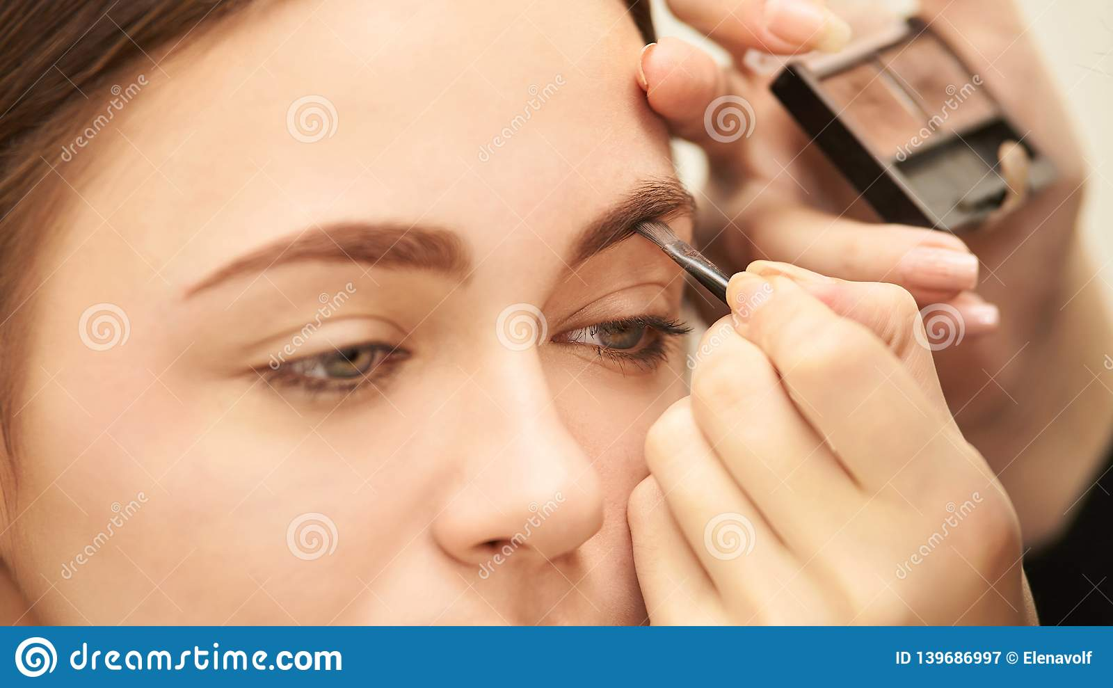 Nude Look Makeup Professional Artist Apply Face Mascara. Woman Beauty Model. Nature Nude Look. Contour Foundation Stock Image - Image Of Highlighter, Blush: 139686997