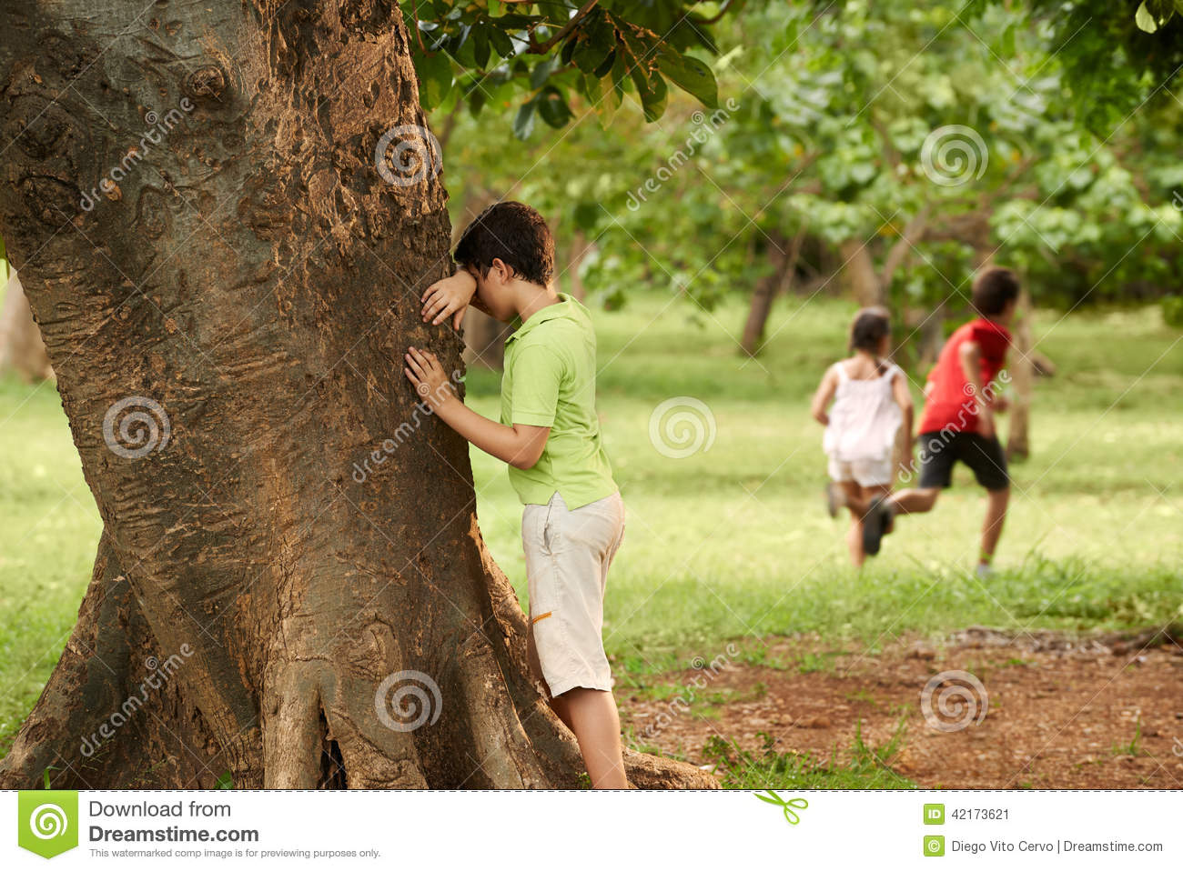 Hide And Seek Kids Male And Female Children Playing Hide And Seek Stock Image Image