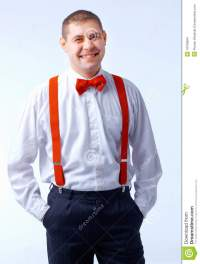 Man With Red Bow Tie And Brases Stock Photo