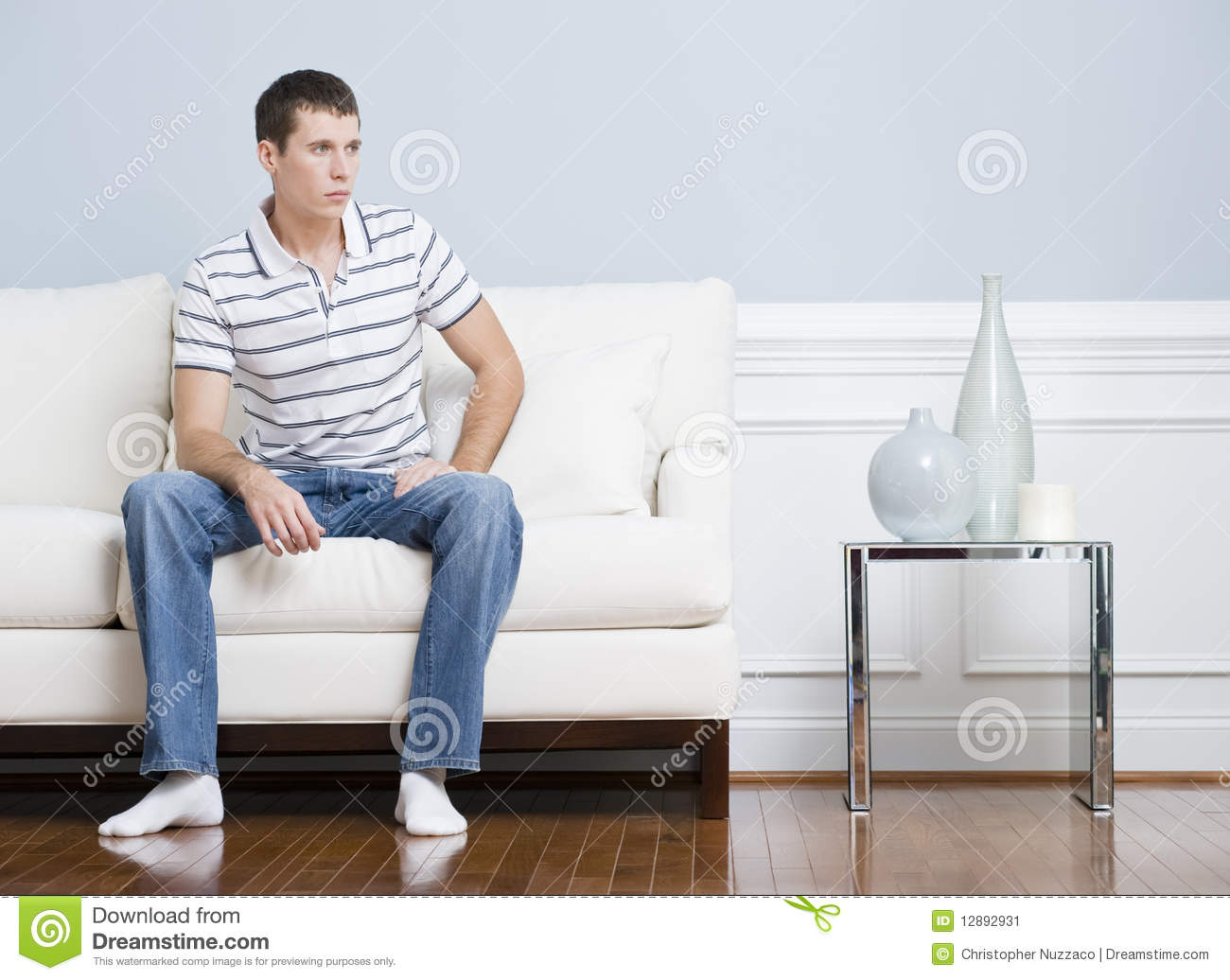 Adulte En Couche Man Sitting On Living Room Couch Stock Image Image 12892931