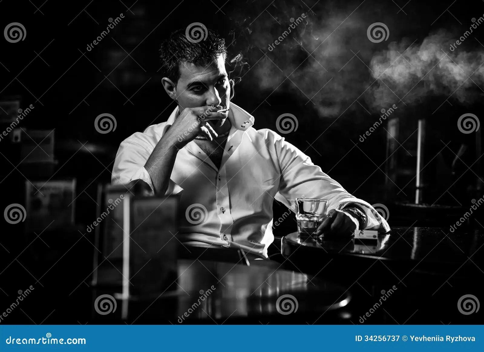 Alone Girl Wallpaper Hd Download Man Smoking Cigarette In Restaurant Stock Image Image