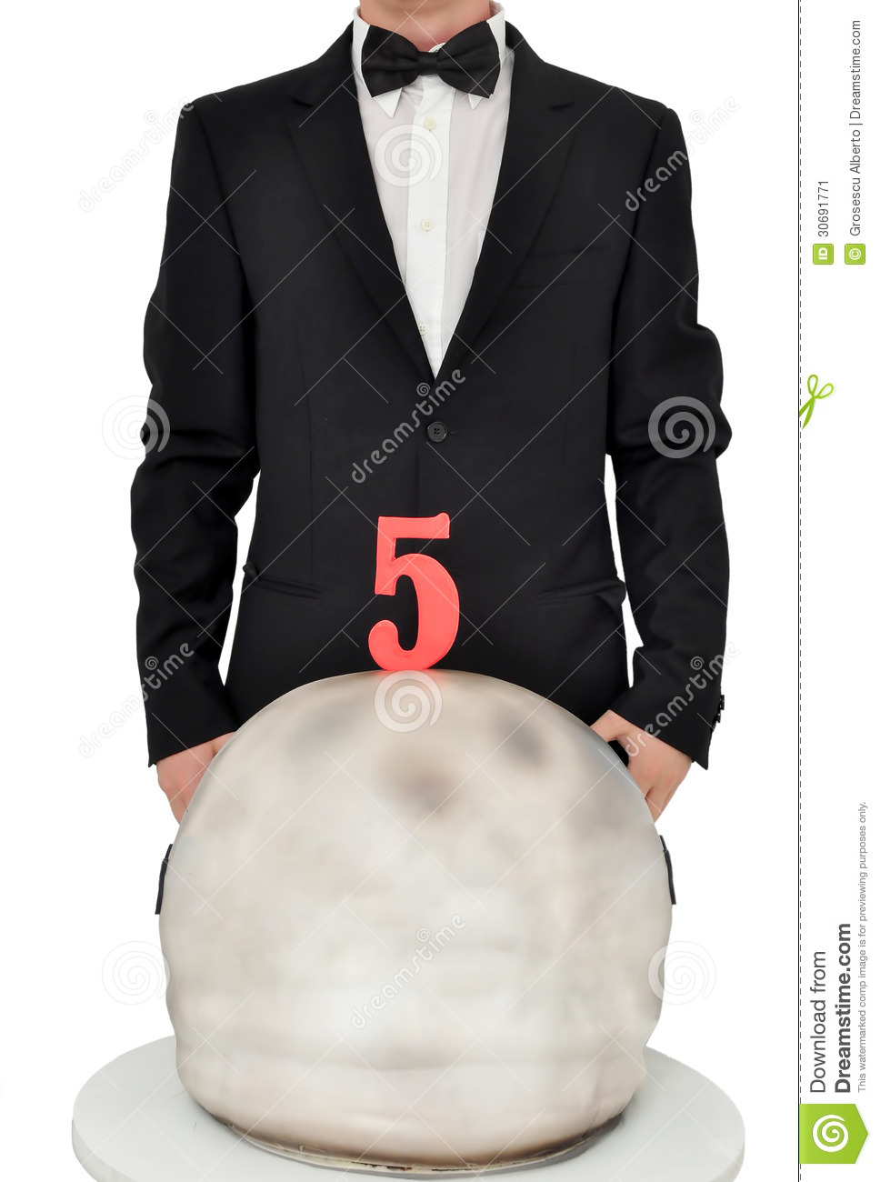 Birthday Candle Hat Man In Tuxedo With A Birthday Cake Stock Image - Image
