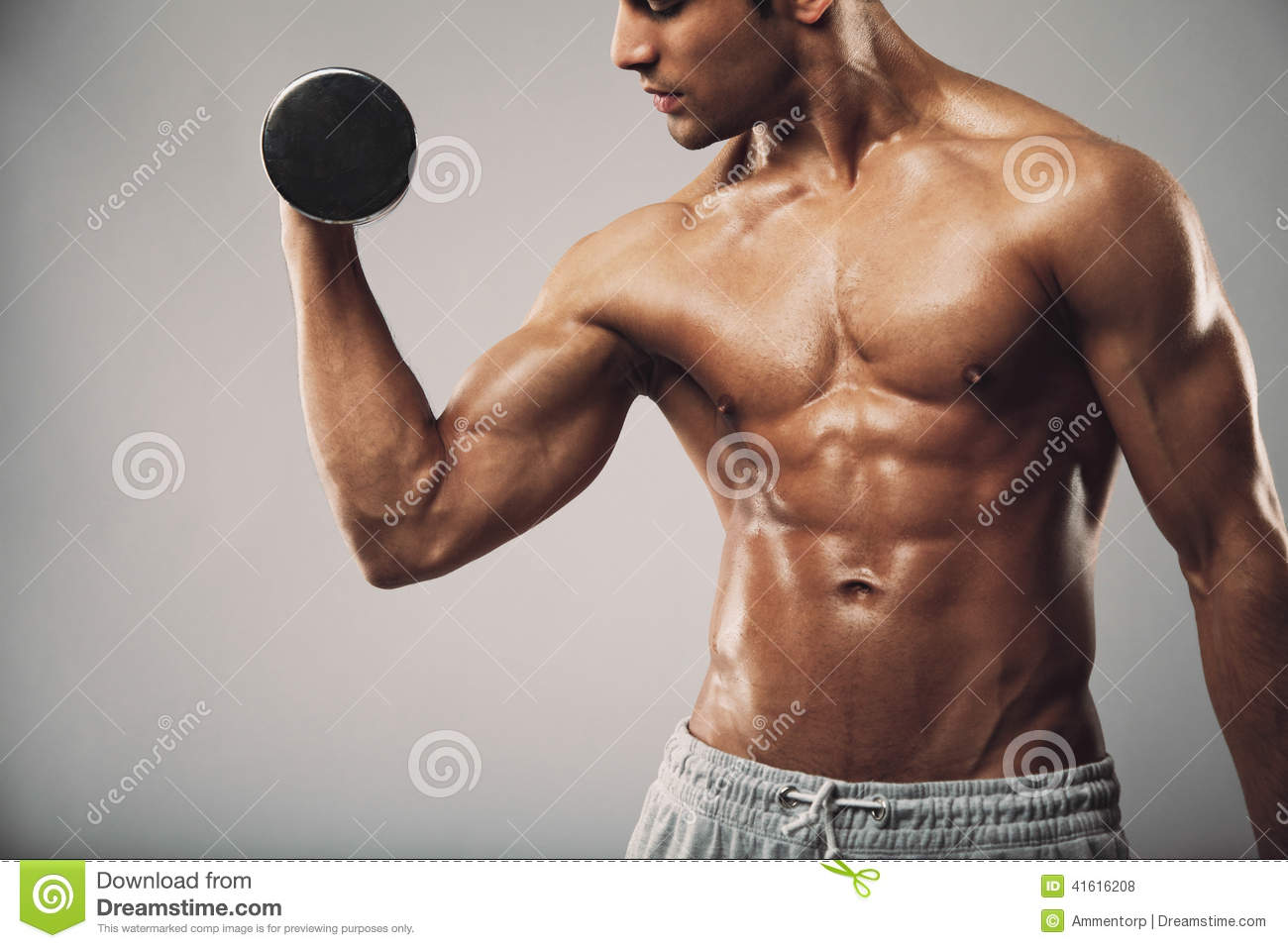 Gym 3d Wallpaper Man Working Out With Dumbbells Stock Photo Image 41616208