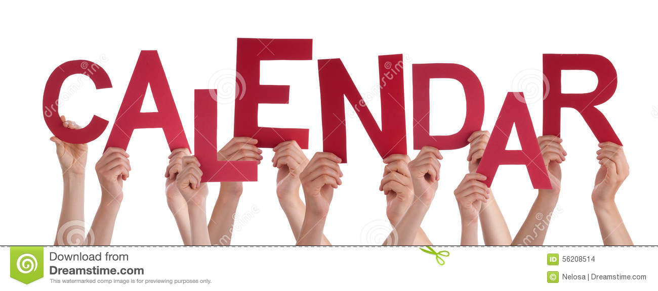 Many People Hands Holding Red Word Calendar Stock Photo - Image of