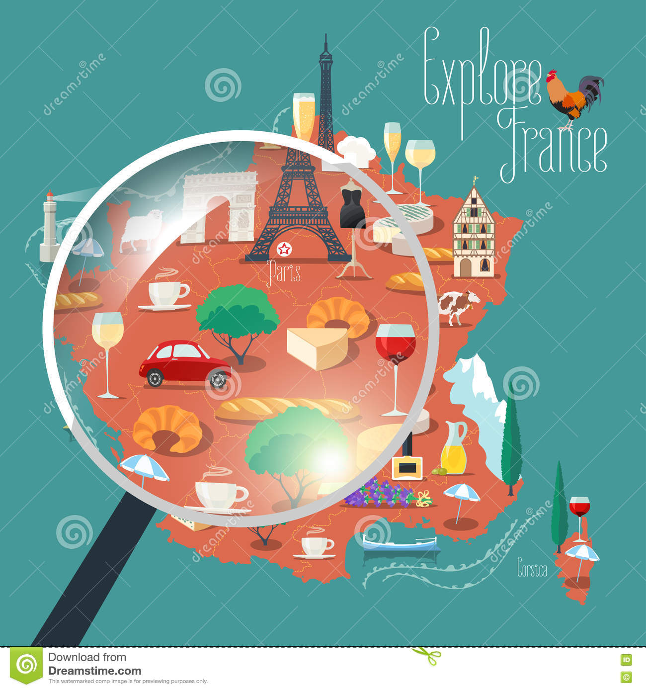 Vector Set Of Wine And Food Cartoon Auto Electrical Wiring Old C85 Box Fuse Stylechevy Map France Illustration Stock