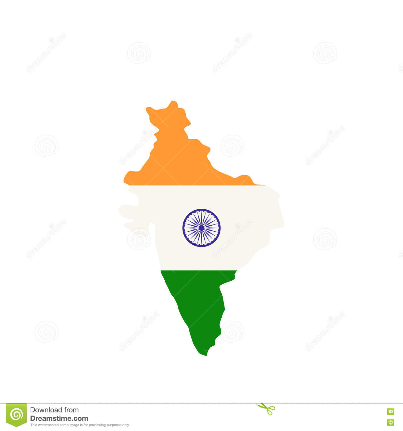 Drapeau India Map Of India With The Image Of The National Flag Stock Vector