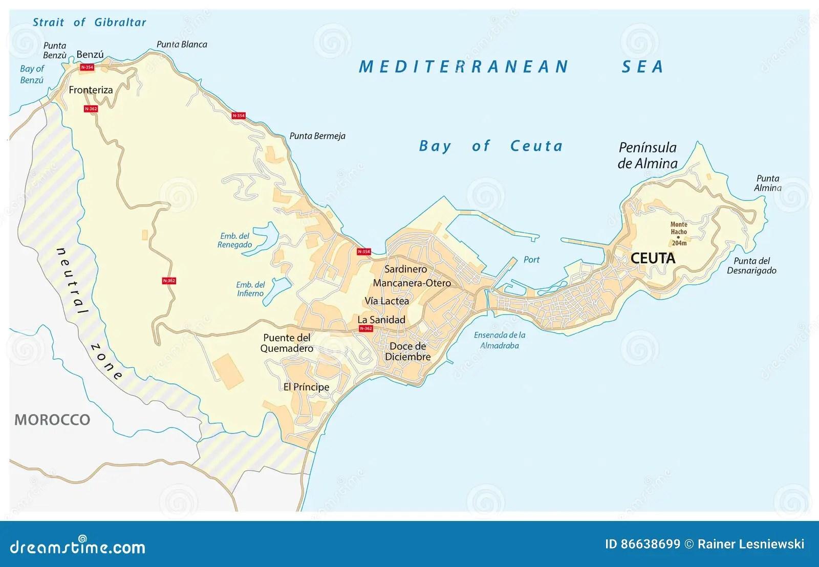 Mapa De Estradas Da Enclave Espanhola Ceuta No Continente Africano