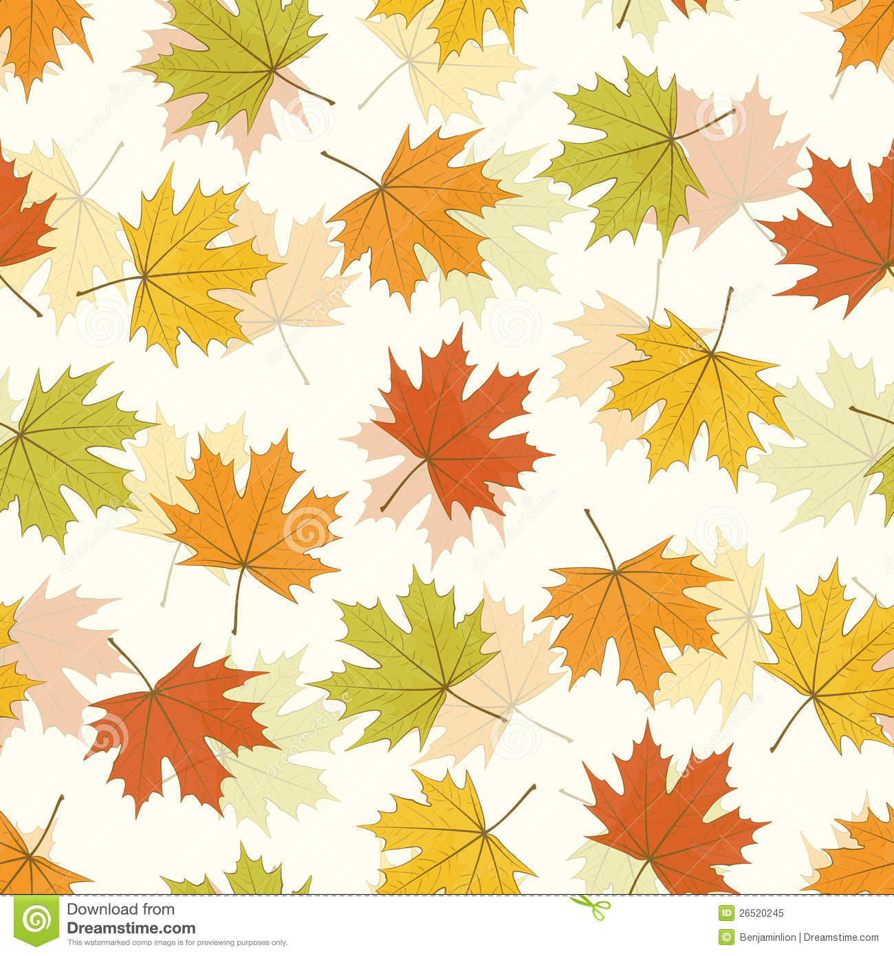 Fall Leaves Falling Wallpaper Maple Leaf Seamless Background Stock Vector Illustration