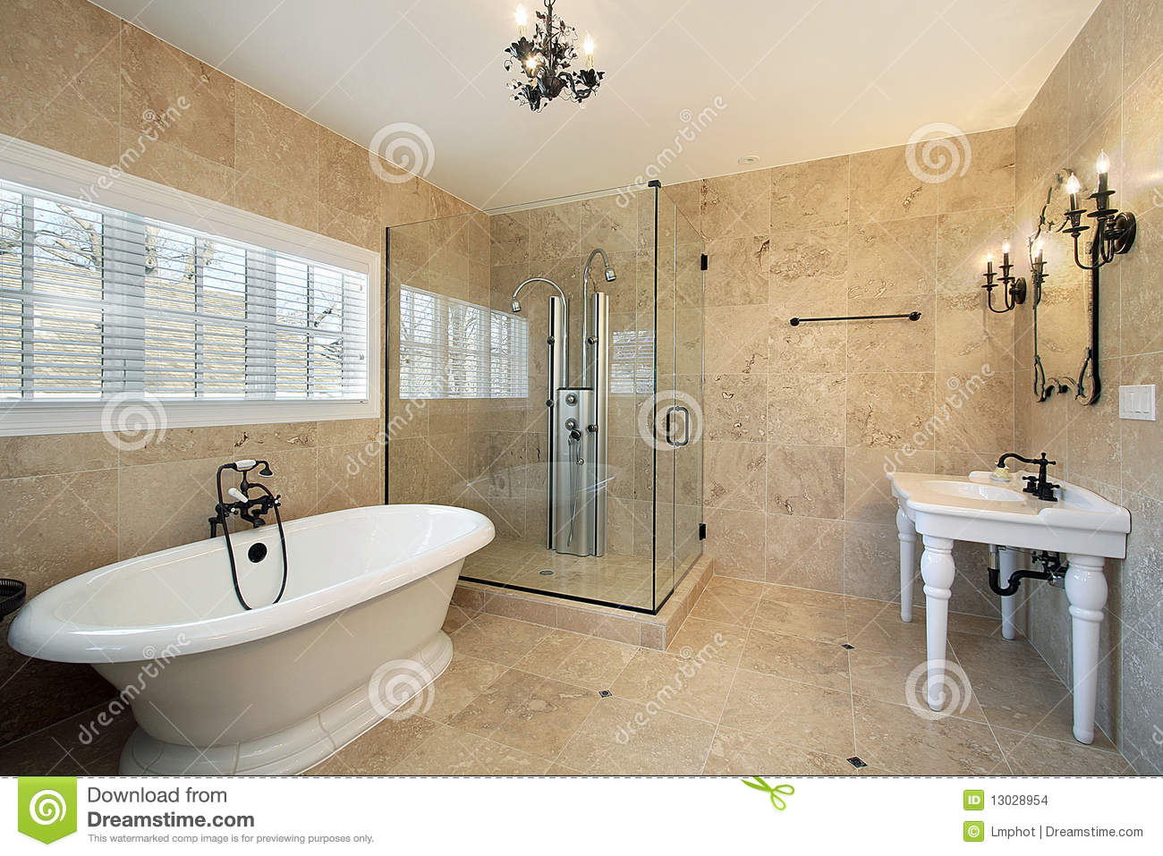 Schlauchbad Master Bath With Large Glass Shower Stock Photo Image