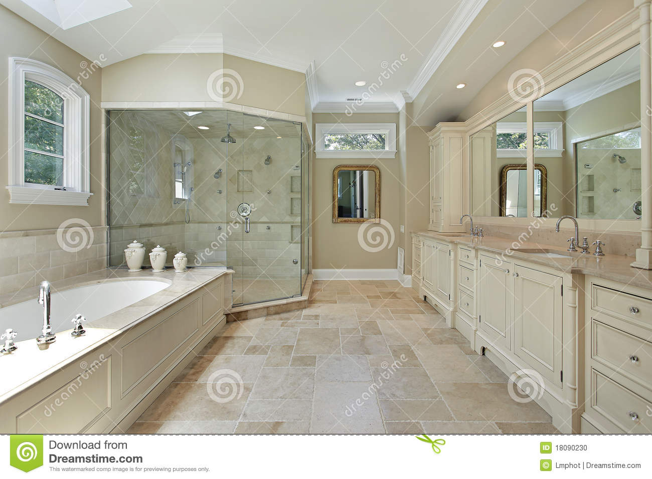 Long Bathroom Mirror Master Bath With Large Glass Shower Stock Photo Image