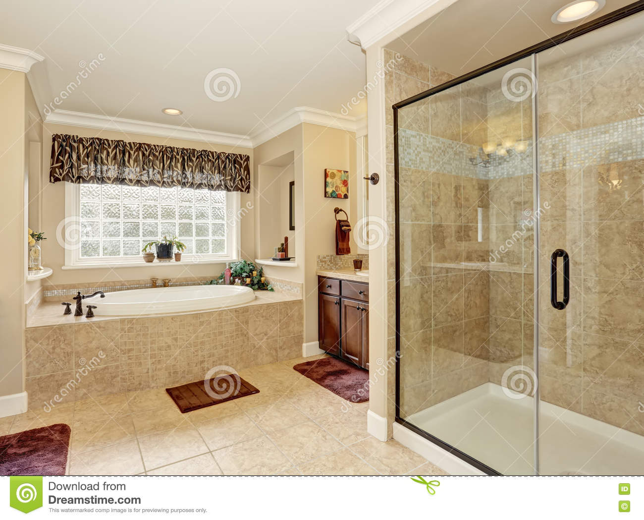 Master Bathroom Design With Beige Tile Stock Image Image Of Floor Brown 75666869