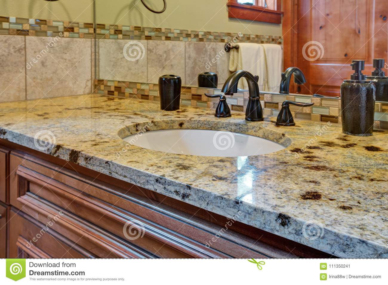 Master Bathroom Interior With Close Up Of Bathroom Vanity Stock Image Image Of Granite Bath 111350241