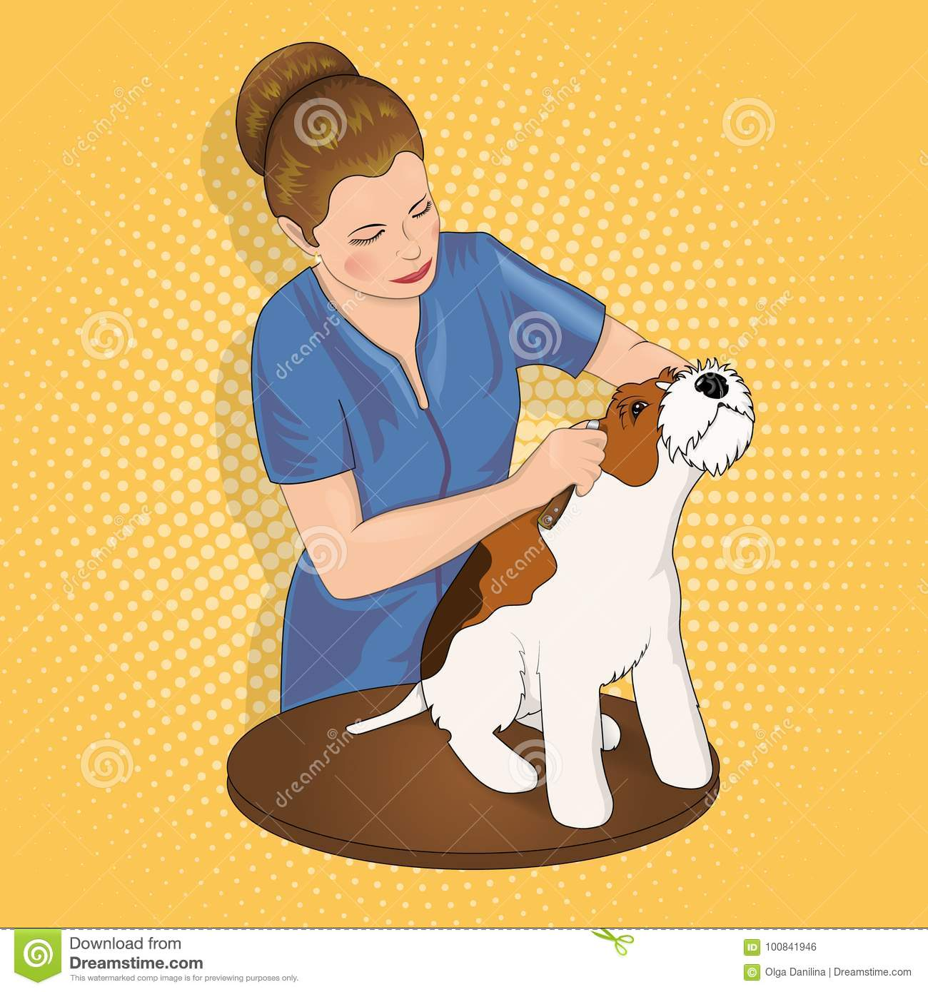 Master Salon For Animals Trimming The Dog Stock Vector