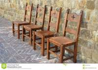 Medieval Chairs On Brick Patio Stock Photo - Image: 42313416
