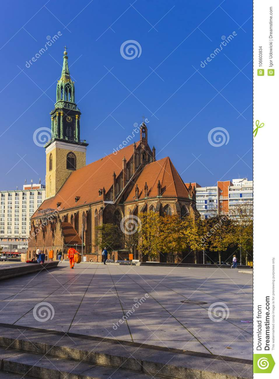 Berlin Gothic Evangelical Church Of St Mary Editorial Stock Image Image Of