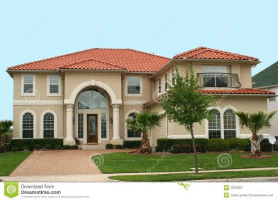 Mediterranean Style Home stock image. Image of real, blue ...