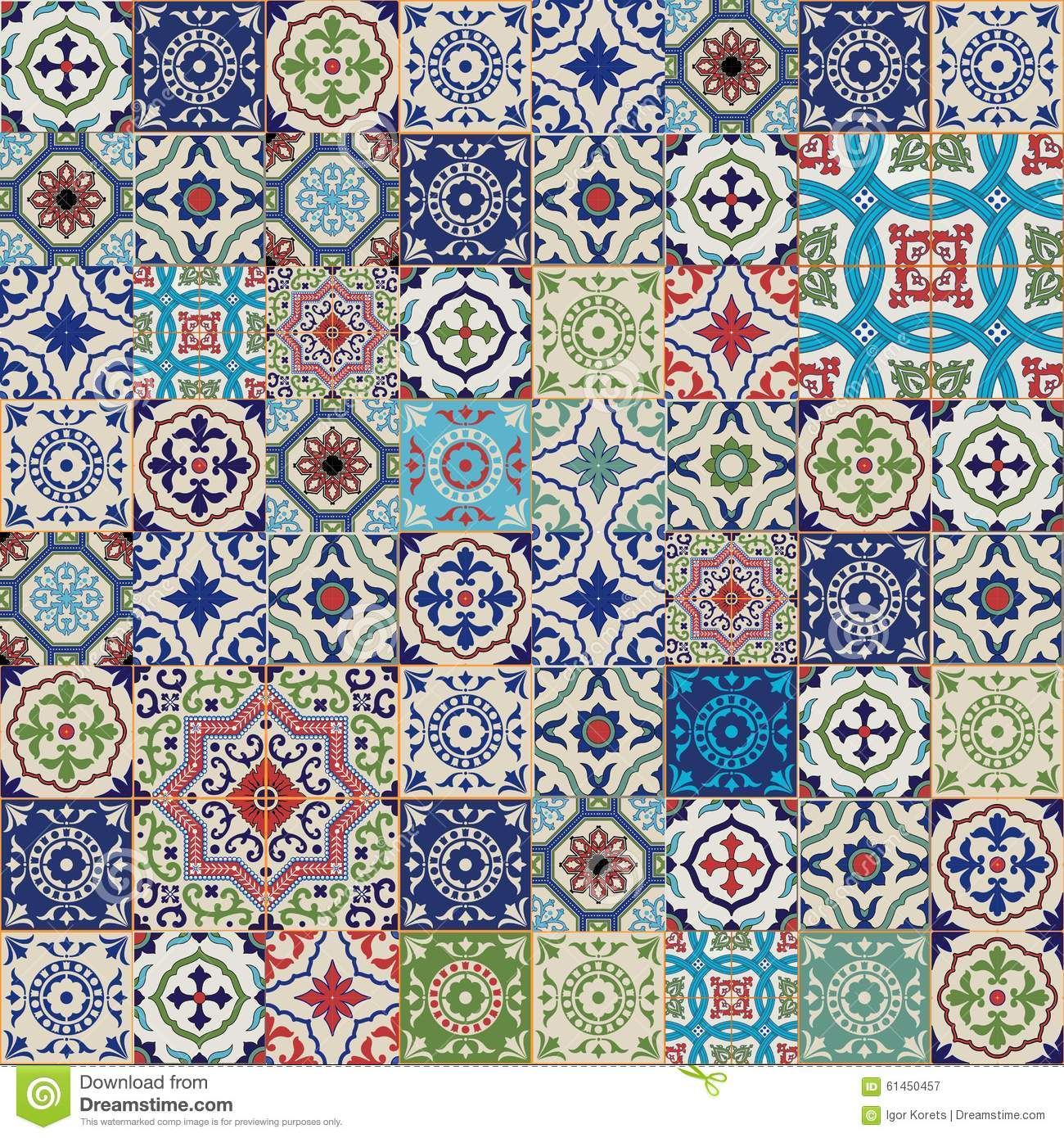 Vinyl Tegel Patroon Mega Gorgeous Seamless Patchwork Pattern From Colorful