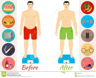Men Before And After The Fitness Stock Vector ...