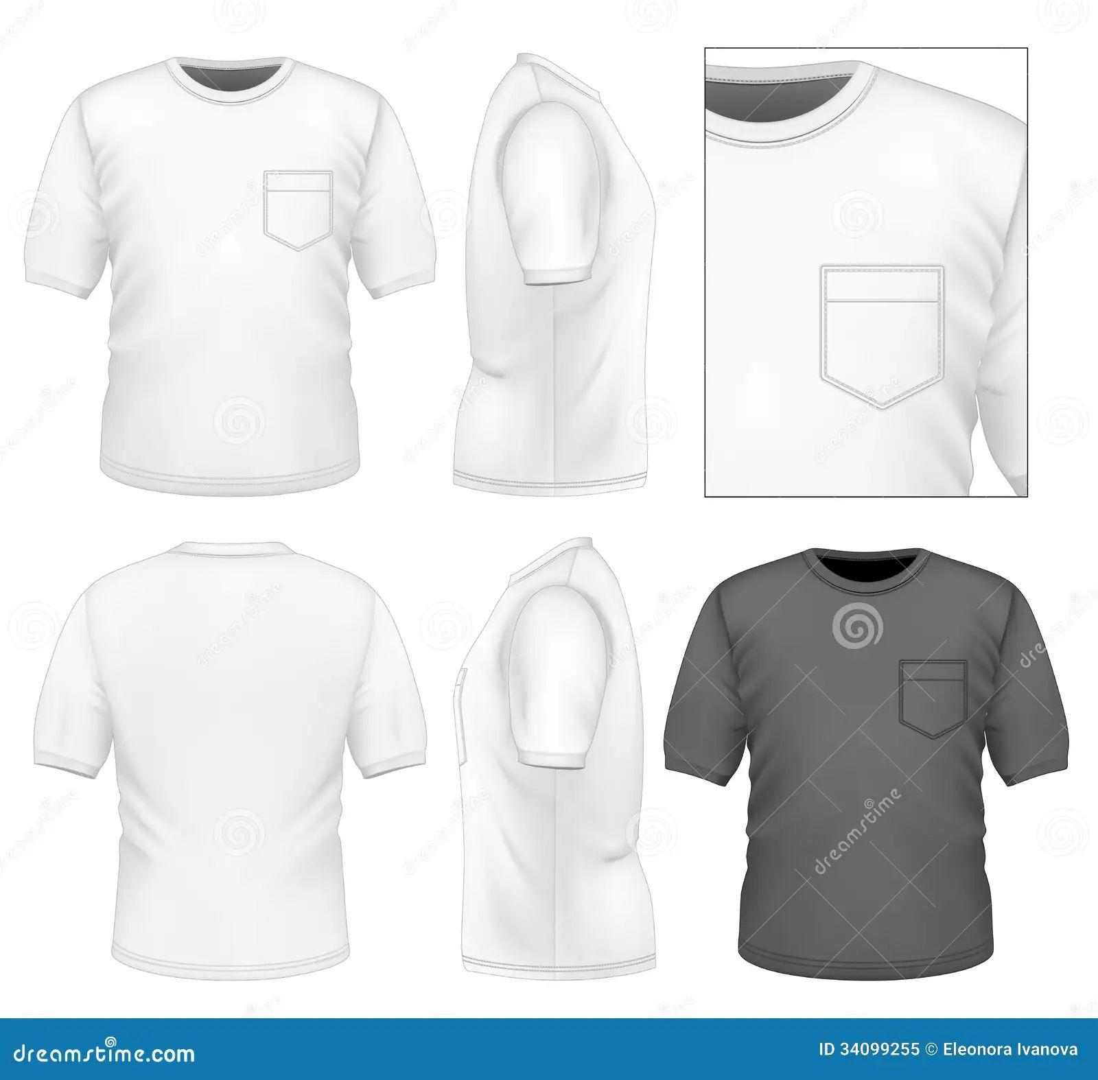 Back design front illustration men photo realistic shirt side t