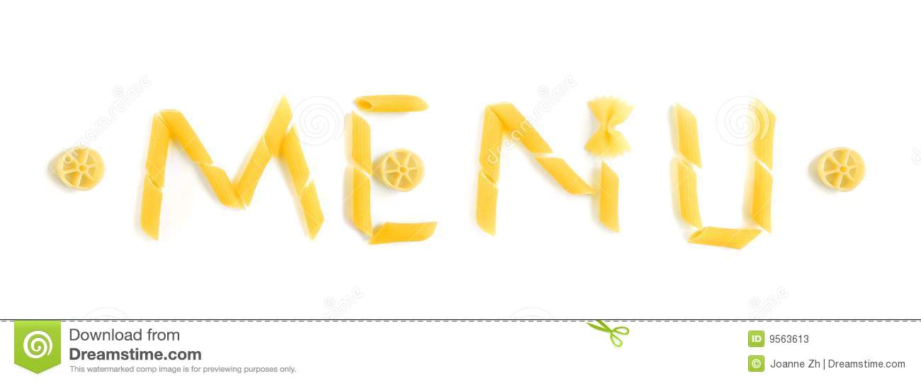 Menu word in pasta shapes stock image Image of copyspace - 9563613
