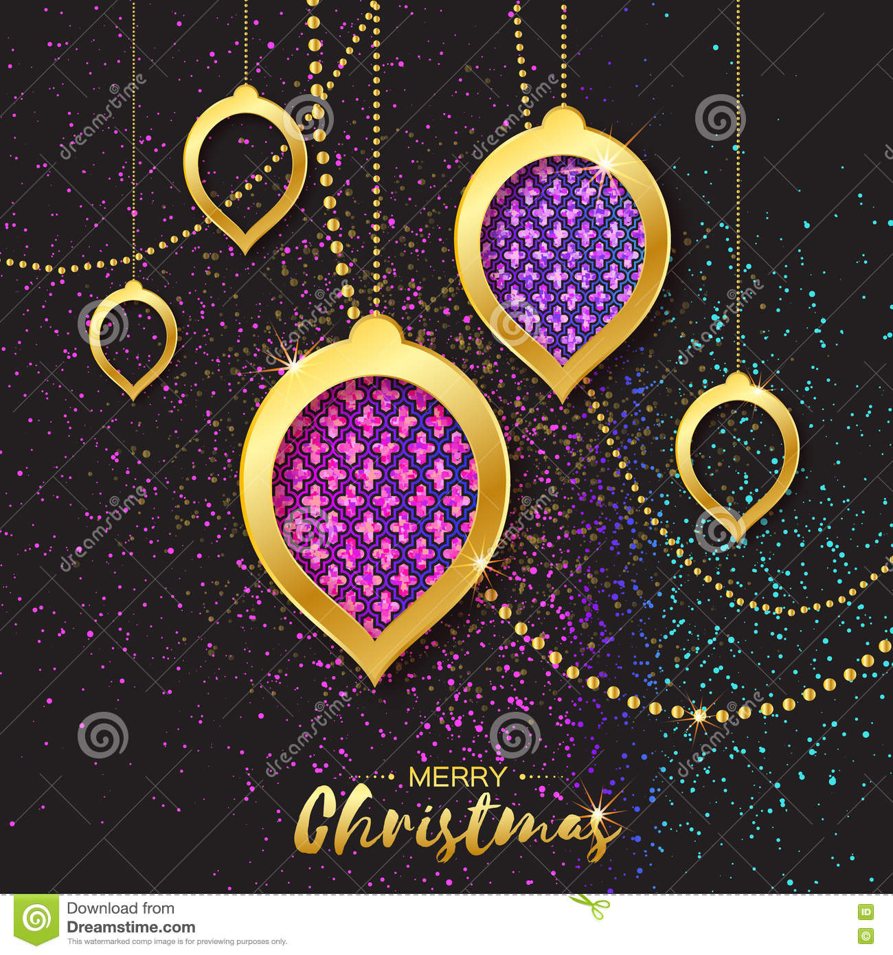 Merry Christmas Golden Glitter Pink Purple Balls Beautiful Decoration Bauble Stock Vector Illustration Of Arabesque Bright 78917025