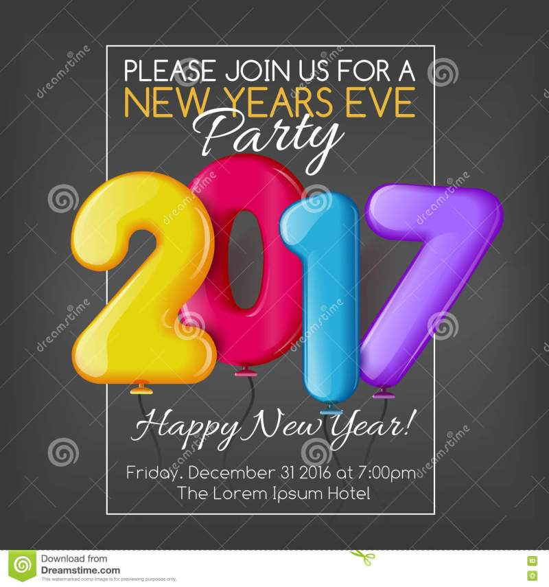 Invitation card for new year party 2017 invitationswedd merry christmas and happy new year 2017 party invitation template stopboris Gallery