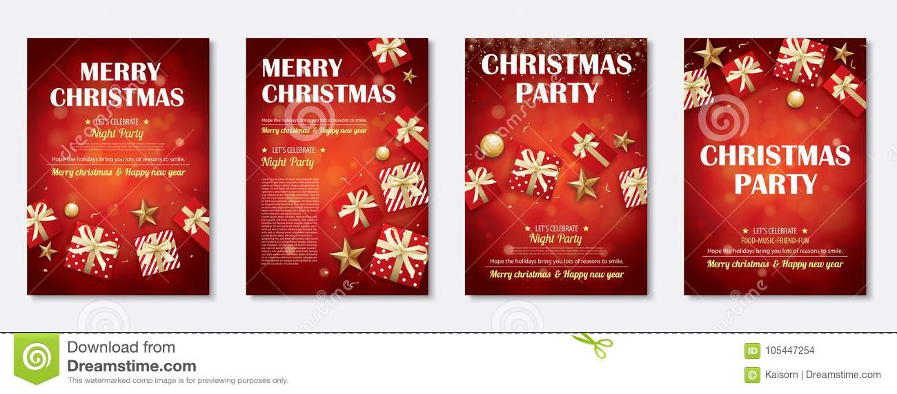 Merry Christmas Party And Gift Box For Flyer Brochure Design On