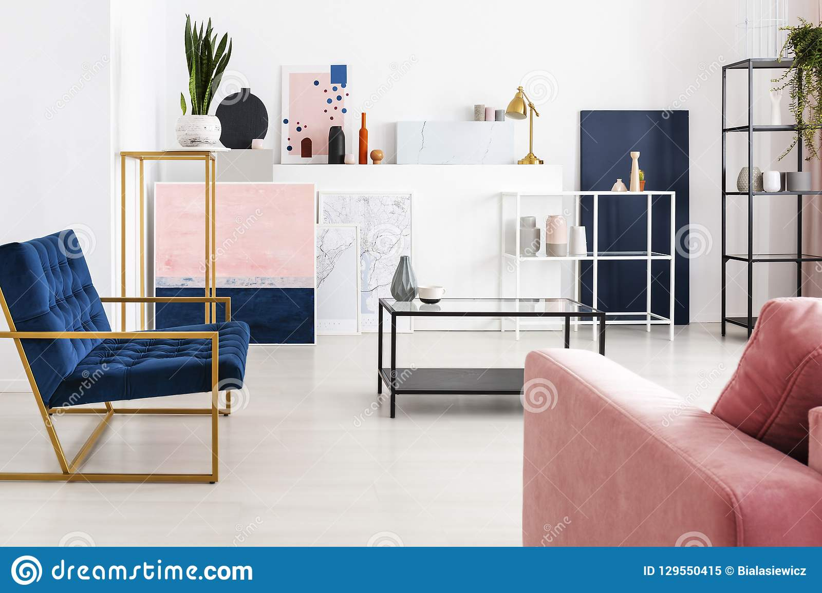 Sofa Petrol Coffee Table With Glass Counter Top In The Middle Of Modern Full Of Color Living Room With Petrol Blue Armchair, Powder Pink Stock Image - Image Of Armchair, Sofa: 129550415