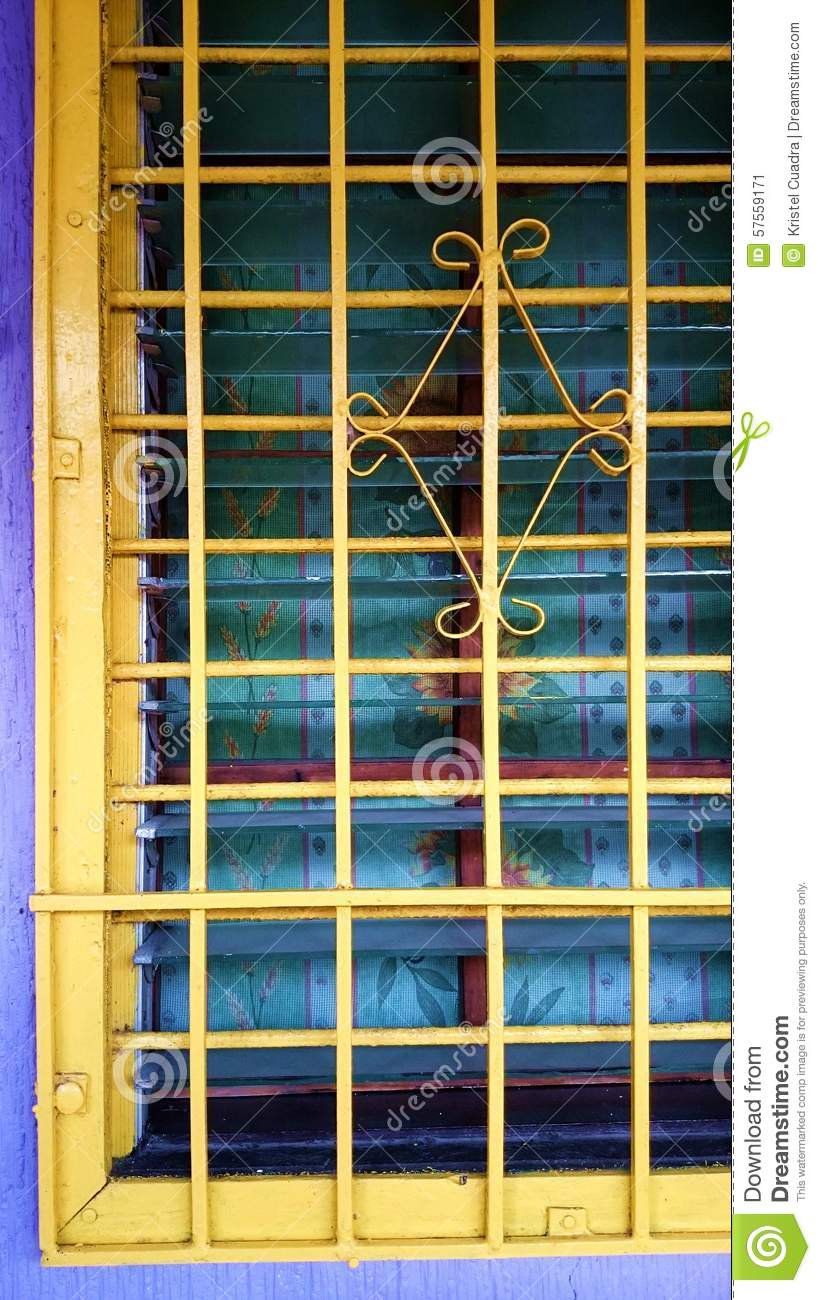 Jalousie Bad Metal Steel Home Windows Painted Yellow Stock Image Image
