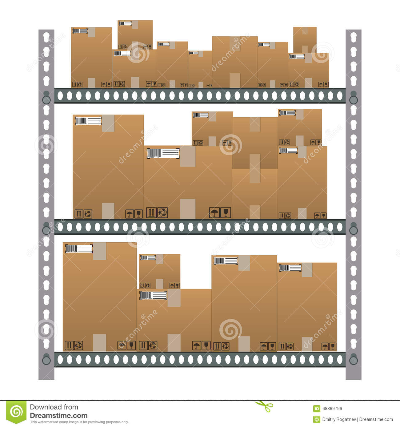 Lagerregal Clipart Metallic Shelves With Cartoon Brown Boxes Stock Vector