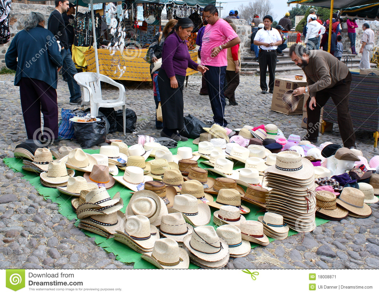 Stock Markets Open Time Mexican Hats At Open Air Market Editorial Photo Image