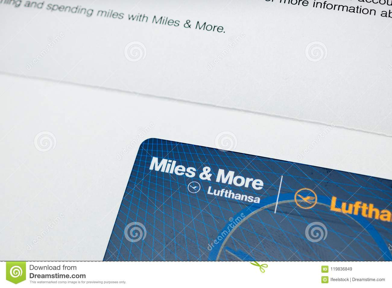 Miles And More Business Miles And More Card Point Card From Lufthansa Editorial Stock