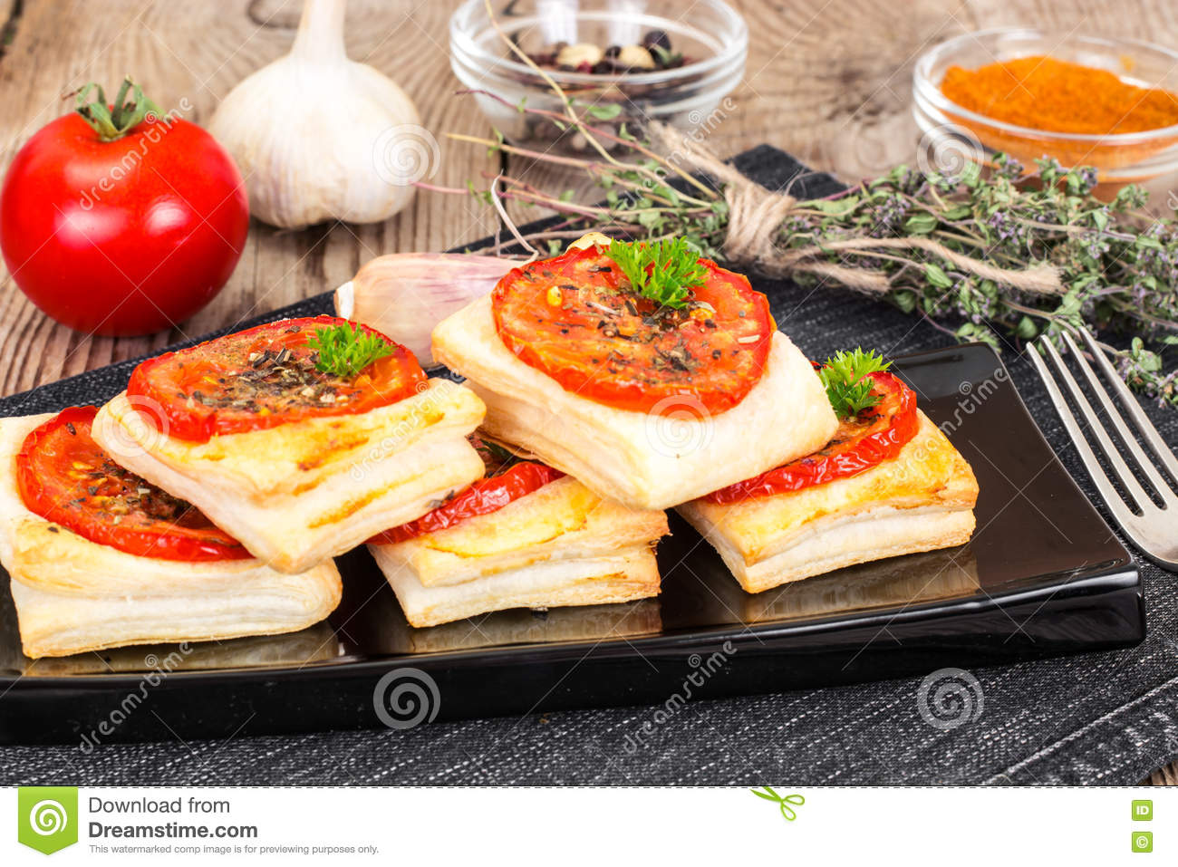 Mini Cuisine Studio Mini Pizzas Pies With Tomato And Oregano Stock Image Image Of