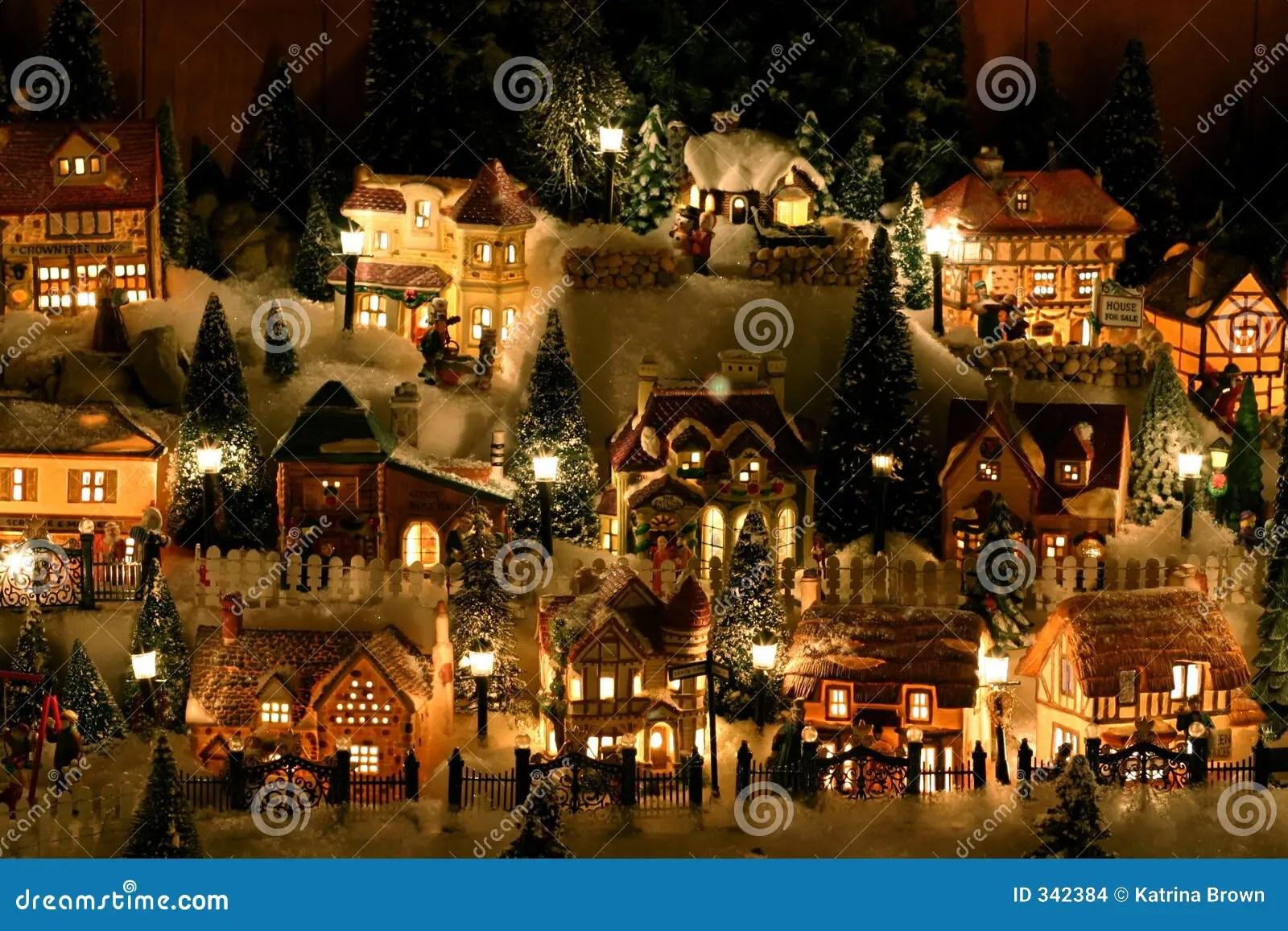 Lifelike 3d Wallpaper Miniature Christmas Village Stock Photo Image Of