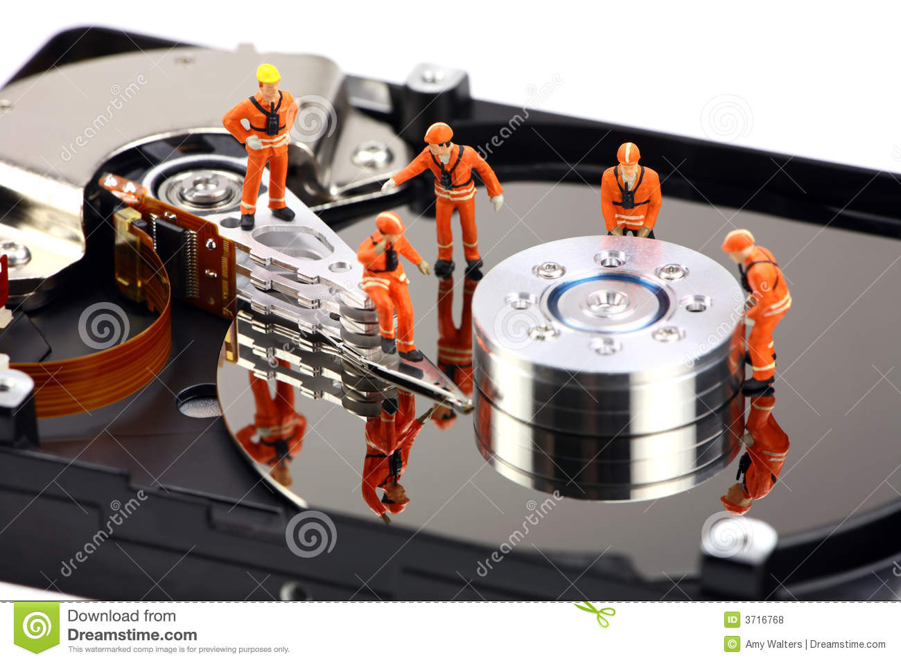 Drive Work Miniature Technicians Work On Hard Drive Stock Photo Image Of