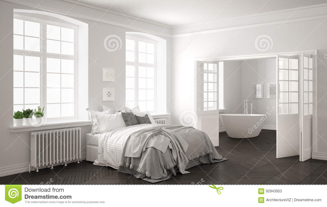 Bedroom White Background Minimalist Scandinavian White Bedroom With Bathroom In The
