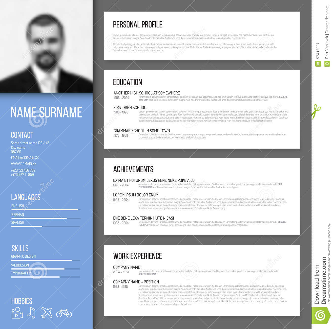 Cv Templates 61 Free Samples Examples Format Download Minimalistic Cv Resume Template Stock Vector Image