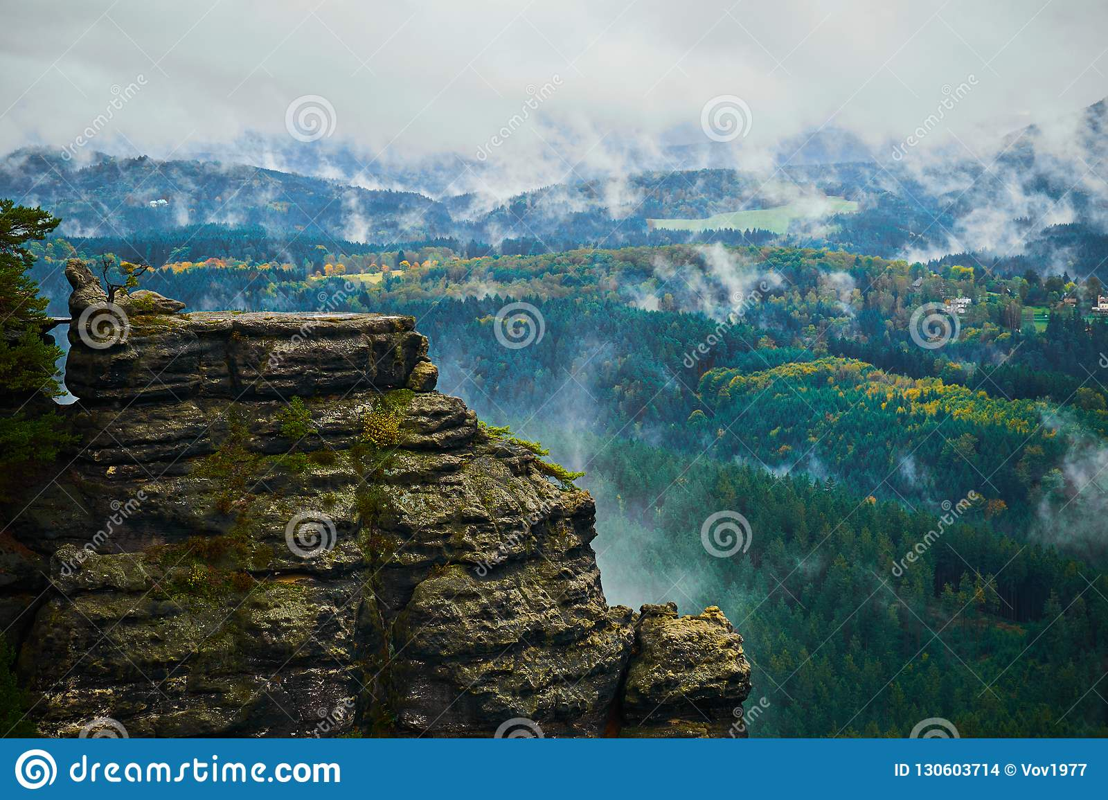 Misty Rainy Morning Landscape With The Sand Rocky Montains In Bohemian Saxon Switzerland In Autumn Colors Stock Photo Image Of Landscape Narnia 130603714
